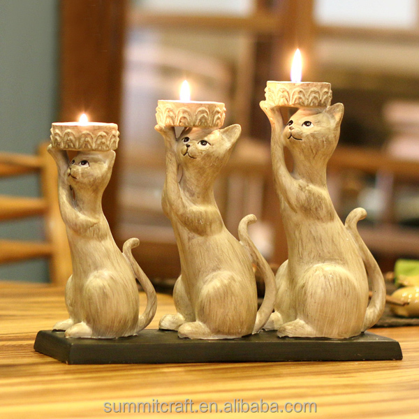 Home interior resin cat 3 tier tealight candle holder