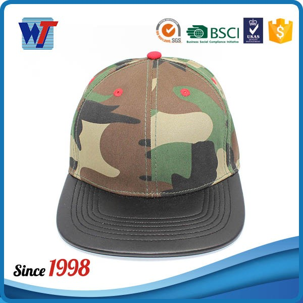 Wholesale Custom Flat leather Bill Military Caps Baseball Hats