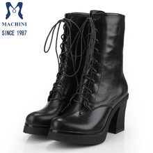 Ladies thick heel cowhide leather high heel Martin boots with laces