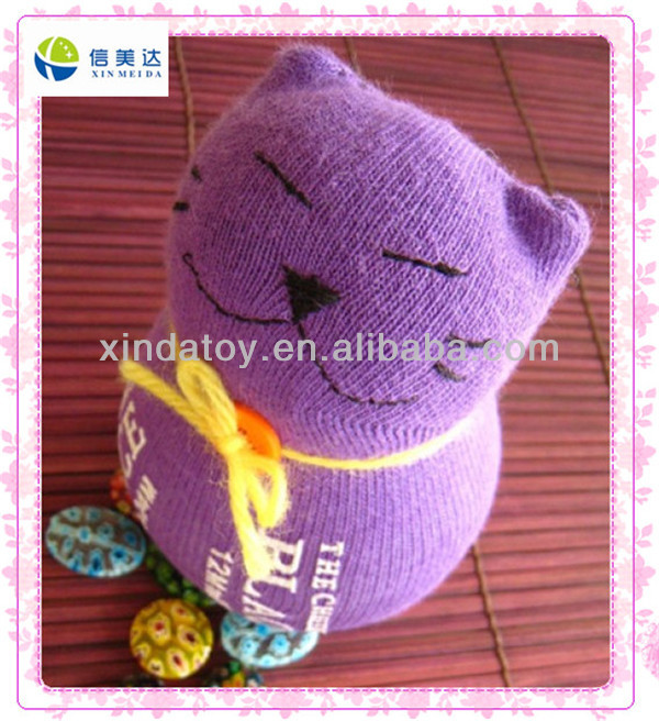 Purple cute cat stuffed knitted animals toy