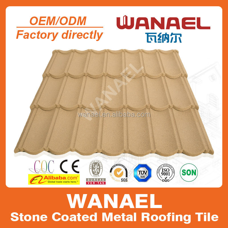 Wanael Classical 1340x420mm anti-freezing stone chips coated steel roof tile/new innovation building material