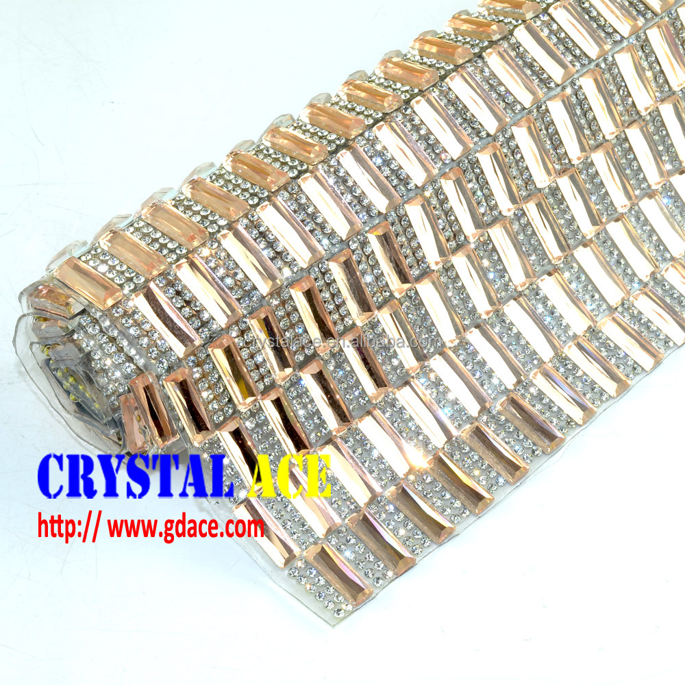 Best Price Bling Bling 24 x 40 cm Rectangle Hot fix Glass Stone Sheet Mesh Trims, Transfer Crystal Rhinestone for Bag