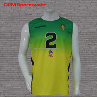 Cut and sew custom mens sleeveless volleyball jerseys design