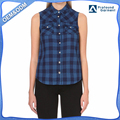 new pattern women sleeveless check shirt double-breasted pocket shirts wholesale