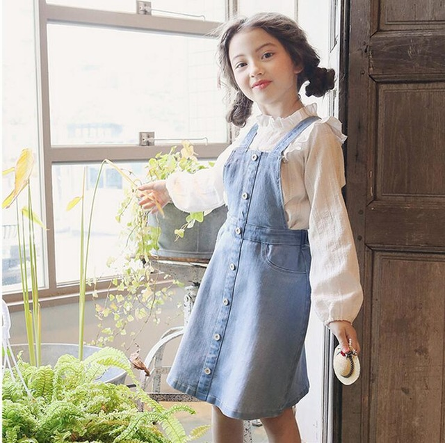 2-8 years 2017 Wholesale Girls Denim Dress Autumn Fashion KoreaAn Style Girls Dresses (pick size no tops)