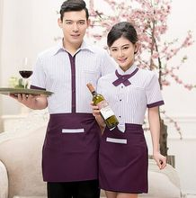 Custom summer korean style short sleeve waitress uniforms for western restaurant wholesale