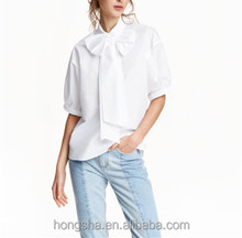 Ladies Big Bow Front Short Sleeve Blouse HST2184