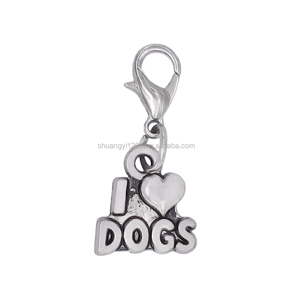 Antique Silver Plated Metal I Heart Dogs Charms With Lobster Claw Fashion Dog Collar Pendants Custom
