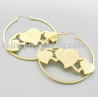 316L stainless steel Gold Tone Heart Hoop Earring