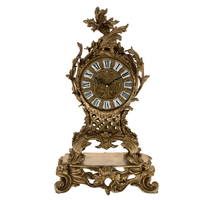 European Antique Crafts Table Bronze Clock Luxury Brass Figurine Desk Clock For Home Decoration