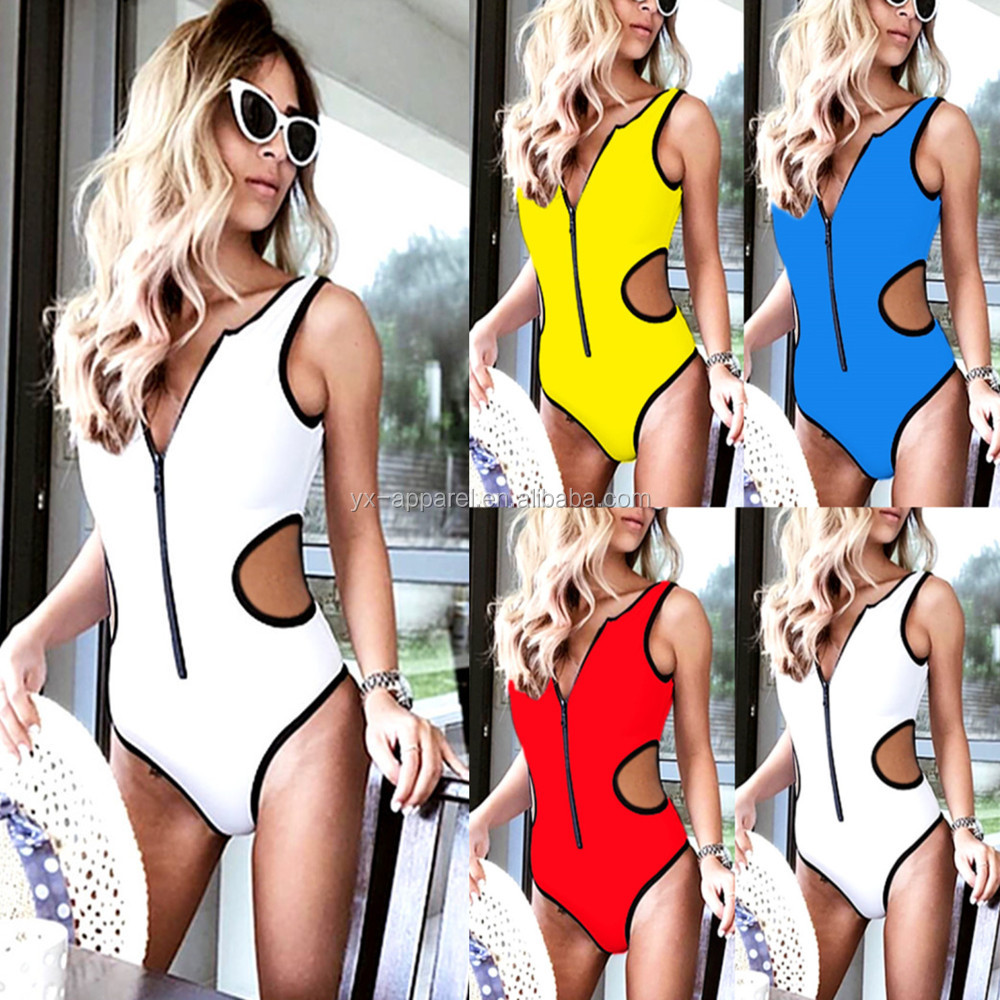 Customized logo hot sex gril photo one piece swimsuit