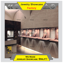 2017 Top rated jewelry furniture wall showcase wall glass mounted showcase designs display cases