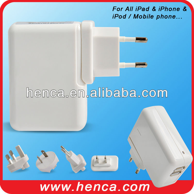 4plug 2usb power charger kit for All iPad &iPhone &iPod/ Galaxy S1 &S2 &S3/