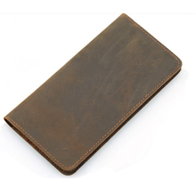 Hot selling fashion design couples fold genuine leather long smart wallet men