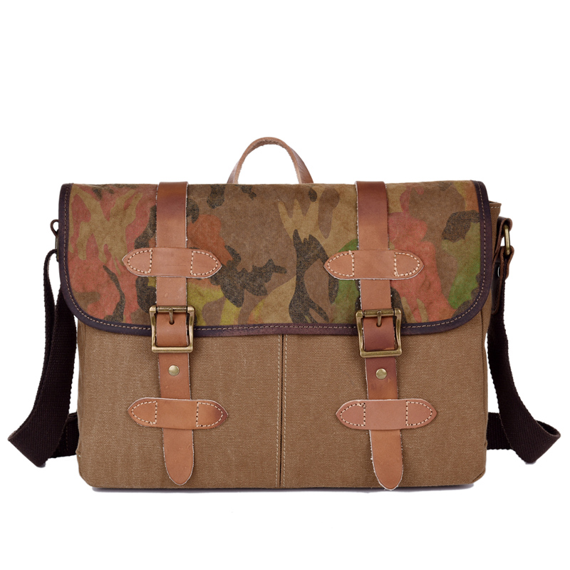 European Vintage Stylish Classical Canvas Genuine Leather Handbags Three in One Camouflage Briefcase Sling Bags for Women