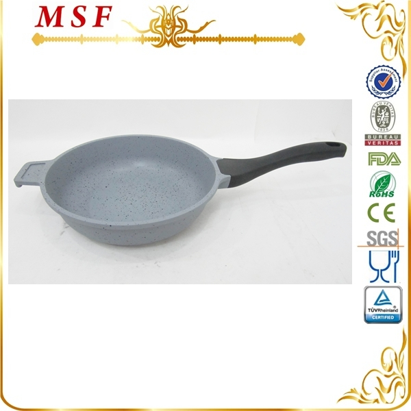 MSF grey color marble coating interior with silicon painting handle double sided frying pan