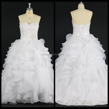 Real Photos Ruffle Wedding Dress Sleeveless Bridal Dress Beaded Ball Gown