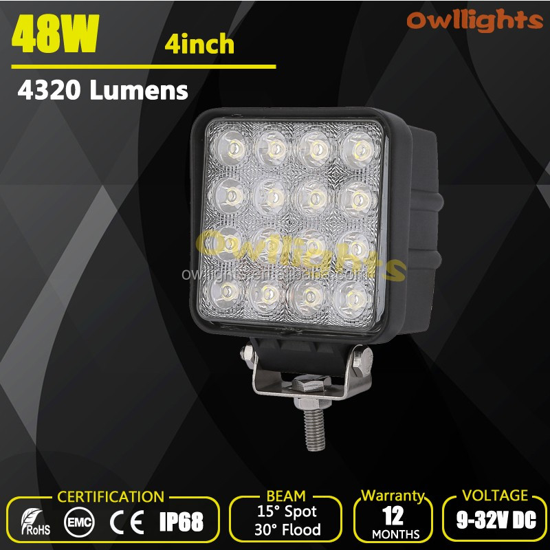 suv car 4x4 Parts Cheap led lights for trucks 48w led off road lights 48w Square LED Work Light for jeep wrangler jk accessories