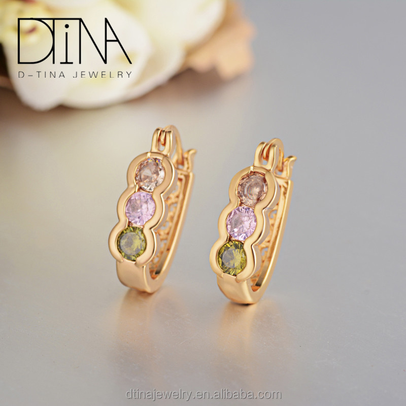 Indian gold jhumka multi colored stones round earrings