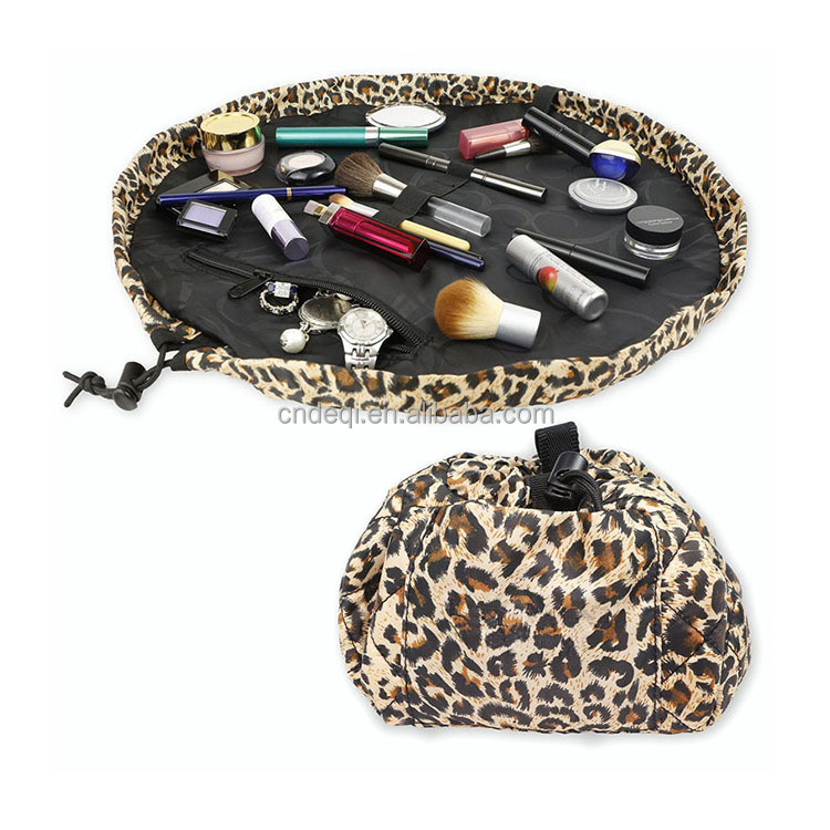 Leopard print pull it together cosmetic bags polyester makeup bag
