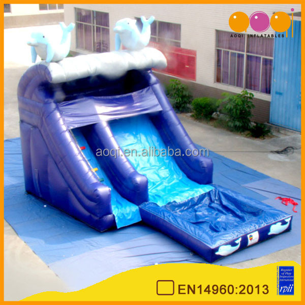 AOQI products 0.55mm PVC tarpaulin commercial dolphin water Inflatable slide AQ09194 with pool