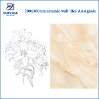 China interior house decoration super glossy finish imported glazed ceramic wall tiles 200x300mm