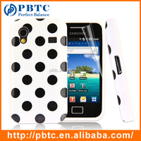 Set Screen Protector And Case For Samsung Galaxy Ace S5830 , Polka Dots Silicon Thick Phone Case