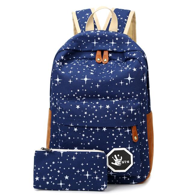 zm32513a fashion korean school bags trendy laptop cansvas backpack with wallet set for junior