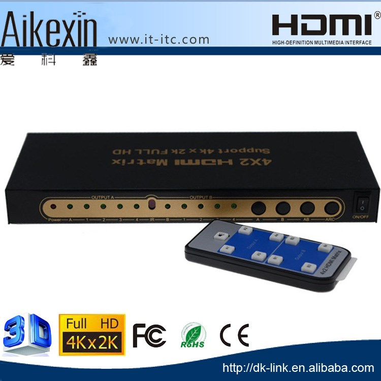 4x2 HDMI Matrix Video Switch Splitter 4 in 2 out with Audio and RS232