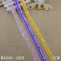 "2"" embroidery double color tulle net lace ribbon"
