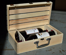 Natural Wood Crate 2 Wine Bottle Travel Storage Box / Display Case