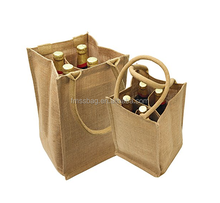 High Quality Wholesale 4 Bottle Wine Jute Tote Bag With Dividers