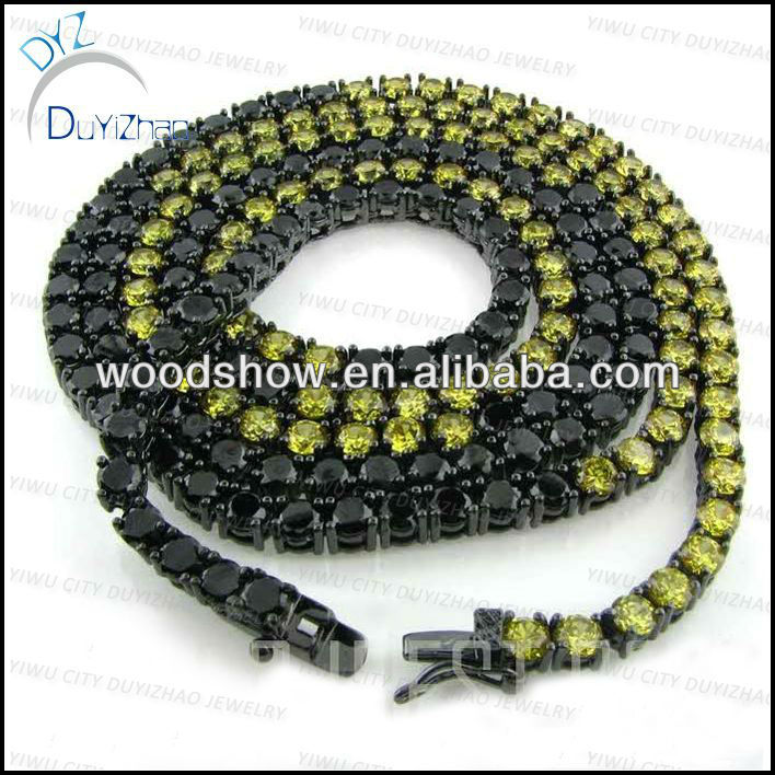 new arrival 1 row brass cz chain micro pave setting black CZ chain