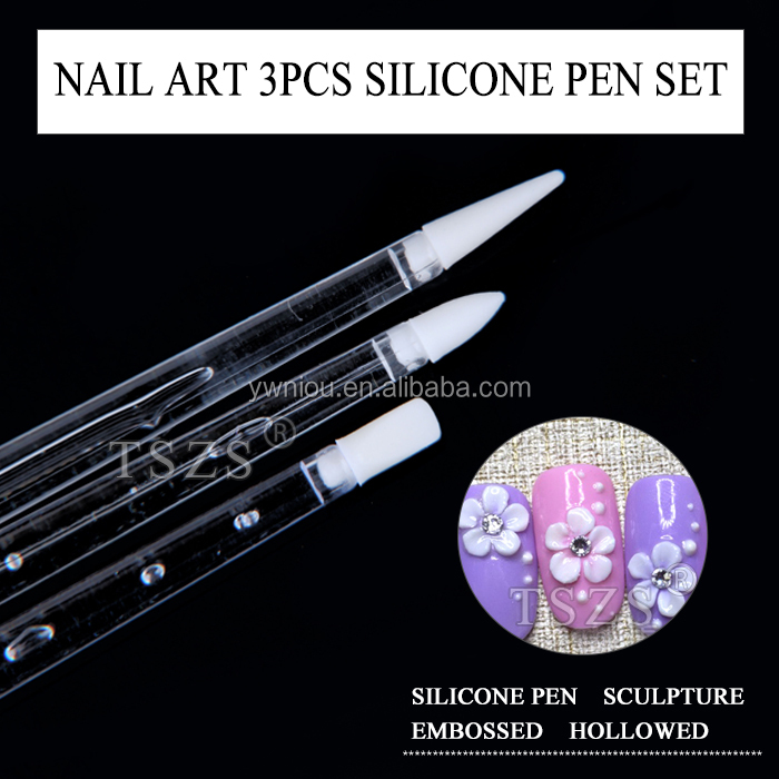 nail art Paint Silicone head Pen 3pcs set with long clear hand nail beauty tool
