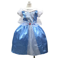 Halloween Girls Princess Light Blue Lace with Crystal 2-8Y Cinderella Halloween Party Dress