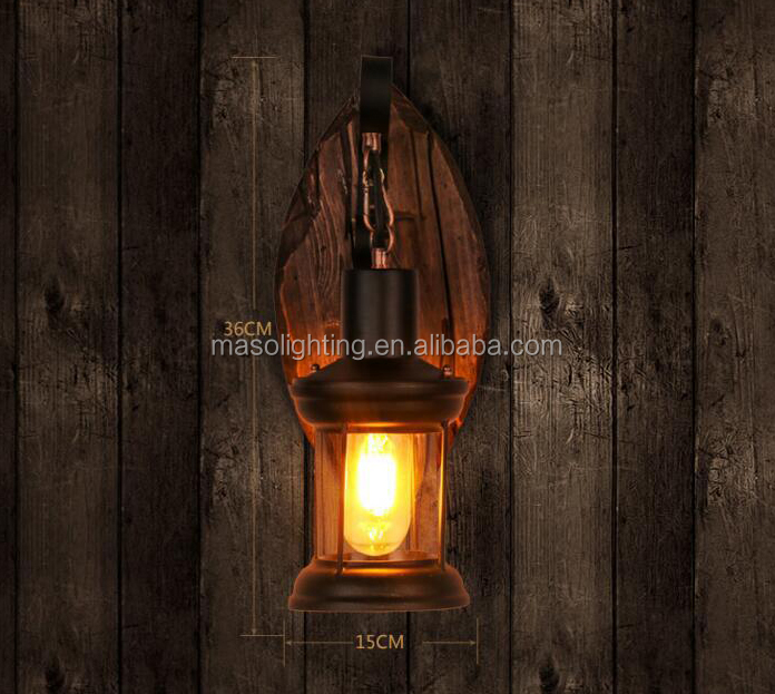 Maso 2017 Indoor lighting fixtures wall lamp vintage retro style wood led light base e27 lamp holder