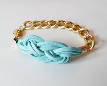 Cheap gold plating chain light blue color knot bracelet for friendship