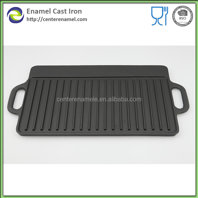 Rectangle double side cast iron matte black grill pans and BBQ griddle plates