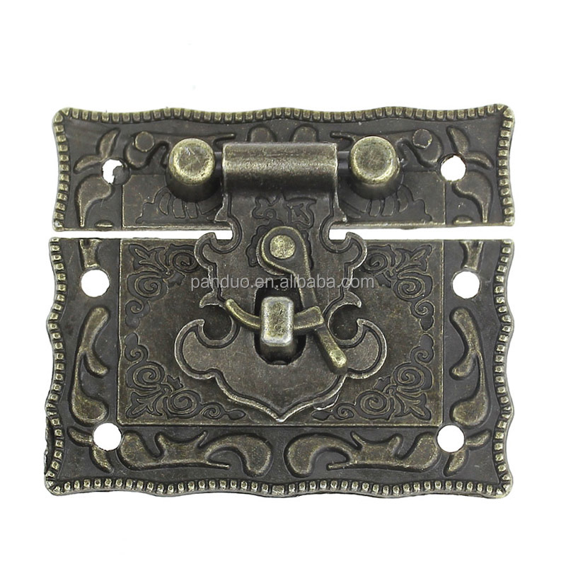Antique Bronze Pattern Carved Jewelry Box Hasp Latch Lock Decorative Hasp