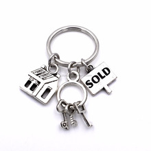 House Keys Sold Charms Realtor Jewelry Keyring Gifts for Women Men Real Estate Agent Keys Keychain