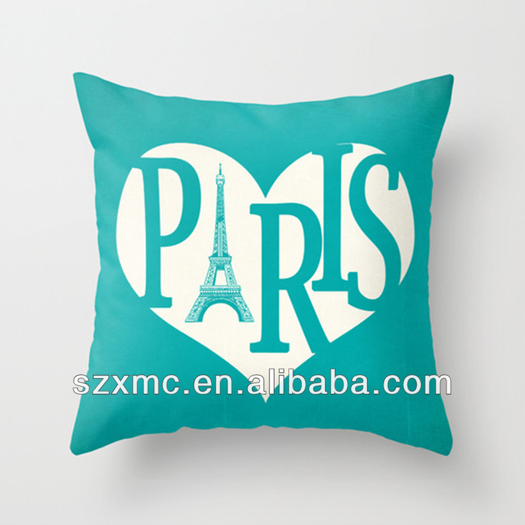 2016 Alibaba Goldern supplier OEM service own design printing Paris cotton neck pillow with zipper or not