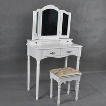 Make up Furniture Wooden Dressing Table with Mirror and Stool