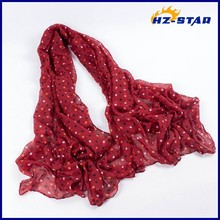 HZW-13611002 women 100% Polyester hot selling chiffon arabian designer hijab red black Colored dots wholesale shawl scarf