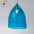 handmade stained blue cone shape borosilicate glass lamp shade