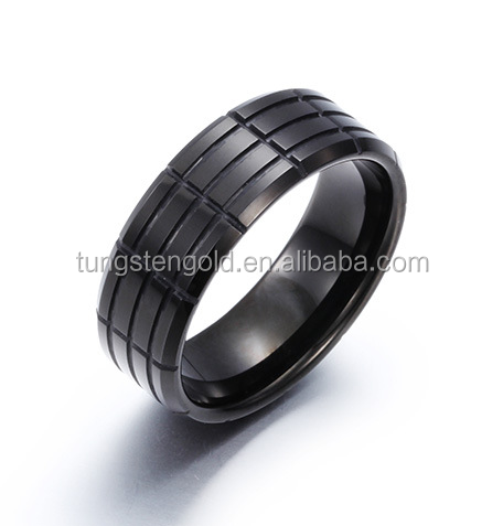 Groove Rings Wholesale Jewelry Tungsten Carbide Ring Polished and Black Plated TGTU110