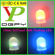 China Factory Hot Selling 10mm diffused rgb self flashing led diode ( CE & RoHS Compliant )
