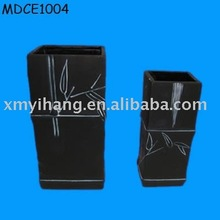 black oblong flower vase