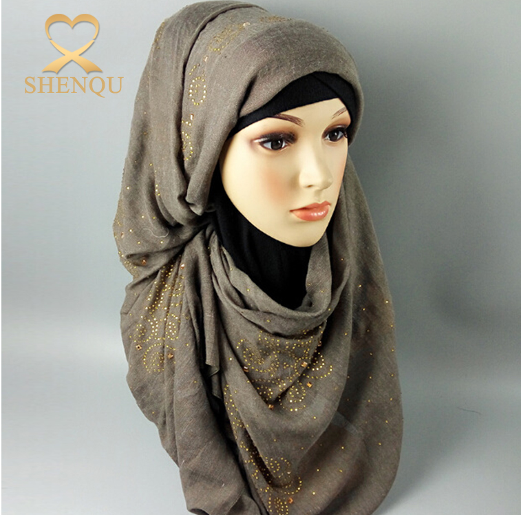 New fashion solid color volie material muslim hijab plain color lycra cotton hijab with stones