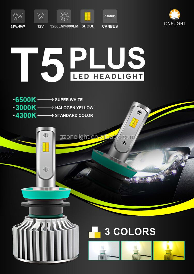 OnelightT5 Plus three color automotive led headlight T5+ led head light