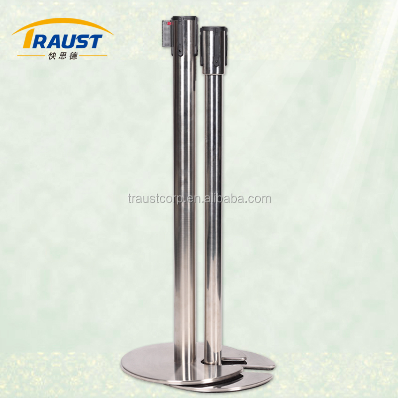Retractable queuing belt post with stackable iron base